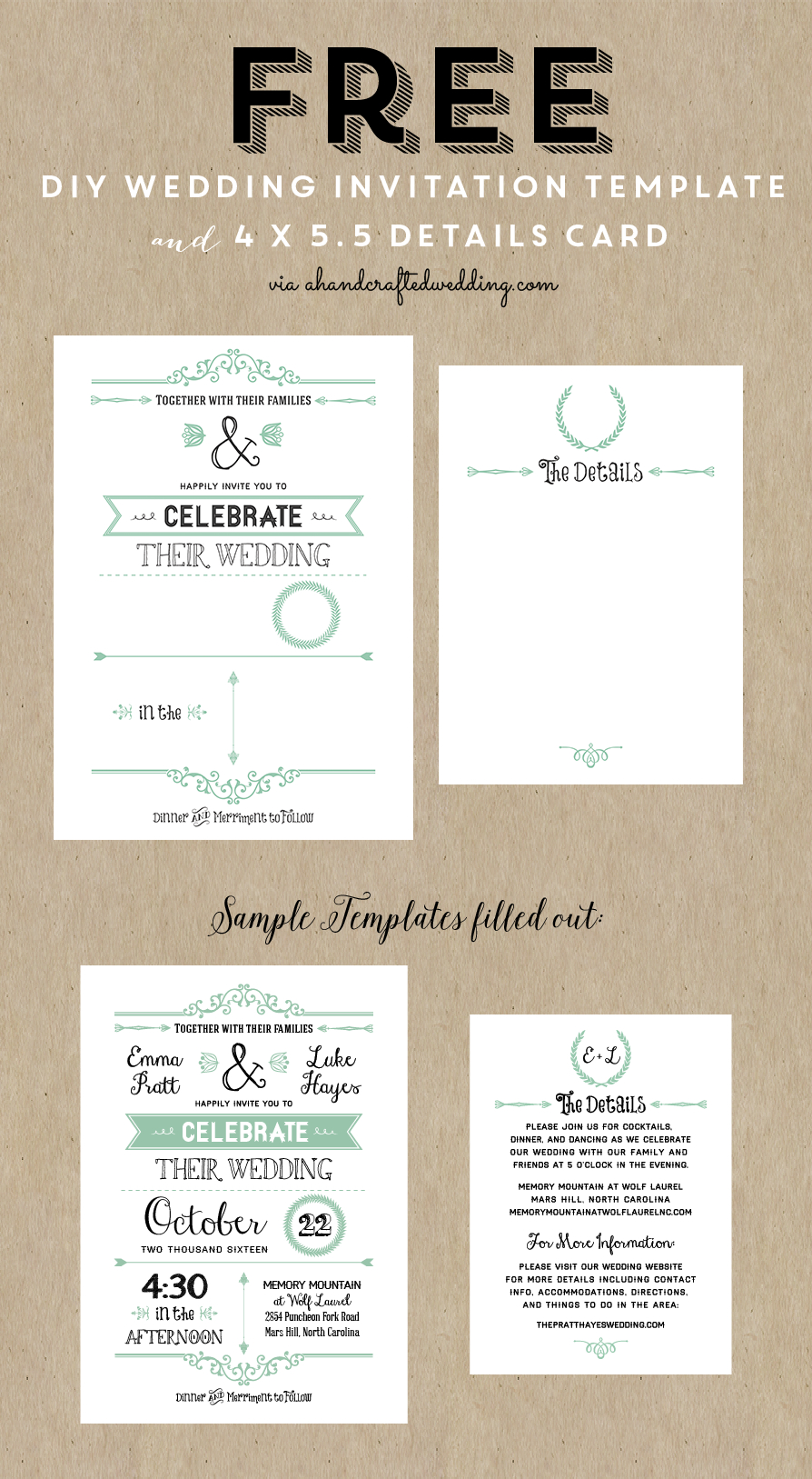 Free Wedding Invitation Template Via Ahandcraftedwedding - Free Wedding Printables Templates