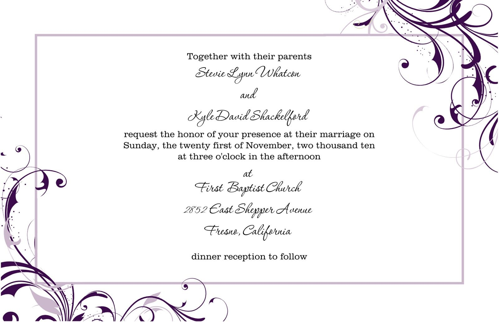 Free Wedding Invitation Templates For Word | Marina Gallery Fine Art - Free Printable Wedding Invitation Templates For Word