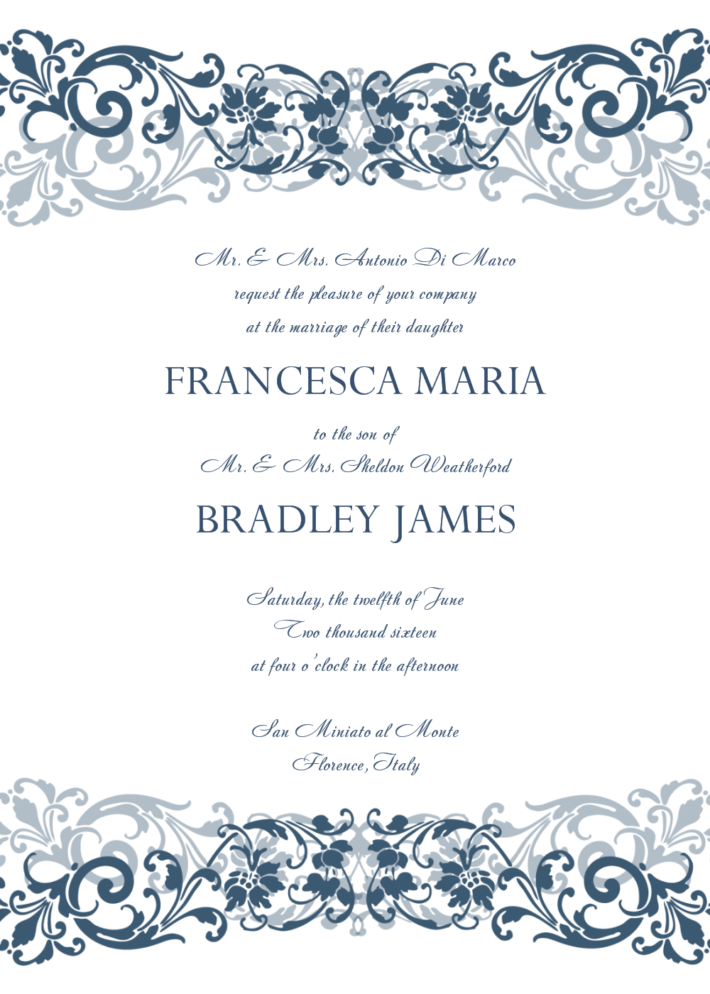 Free Wedding Invitation Templates For Word | Wedding Invitation - Free Printable Wedding Cards