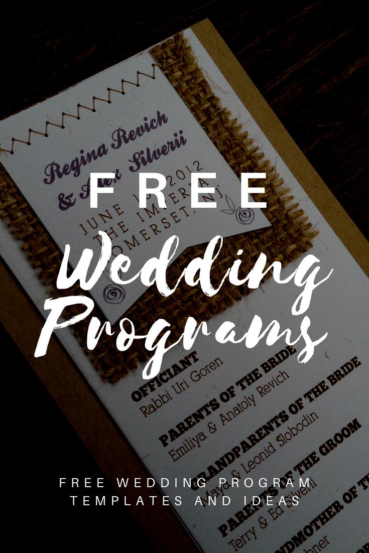 Free Wedding Program Templates | Wedding Program Ideas - Free Printable Wedding Programs