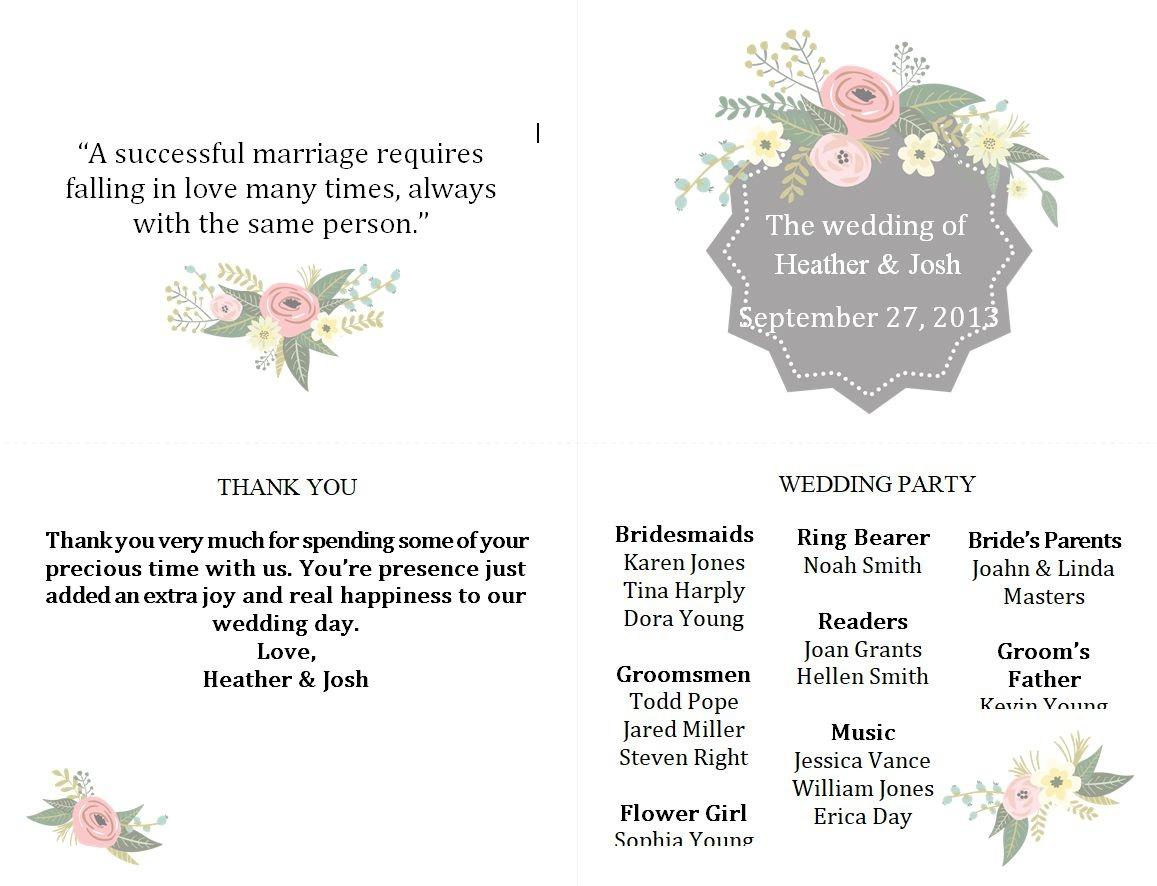 Free Wedding Program Templates You Can Customize - Free Printable Wedding Program Samples