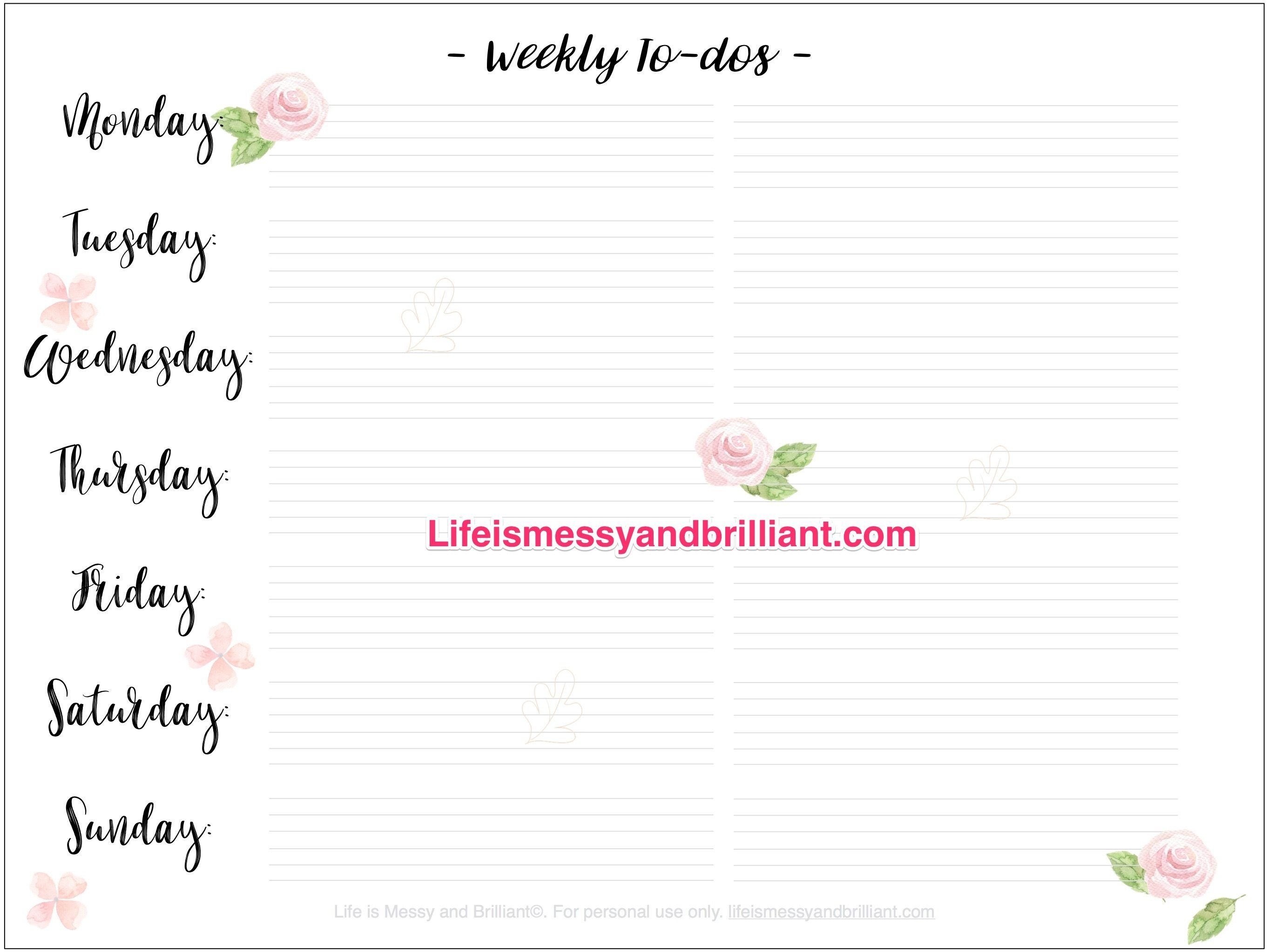 Free Weekly To Do List Bullet Journal Printable | Planners + - Free Bullet Journal Printables 2019