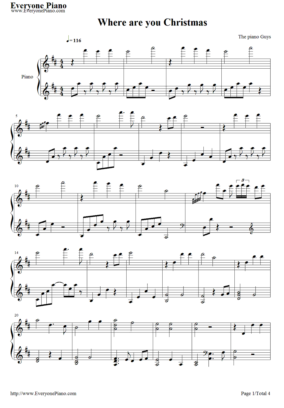 Free Where Are You Christmas-The Piano Guys Sheet Music Preview 1 - Free Printable Christmas Music Sheets Piano