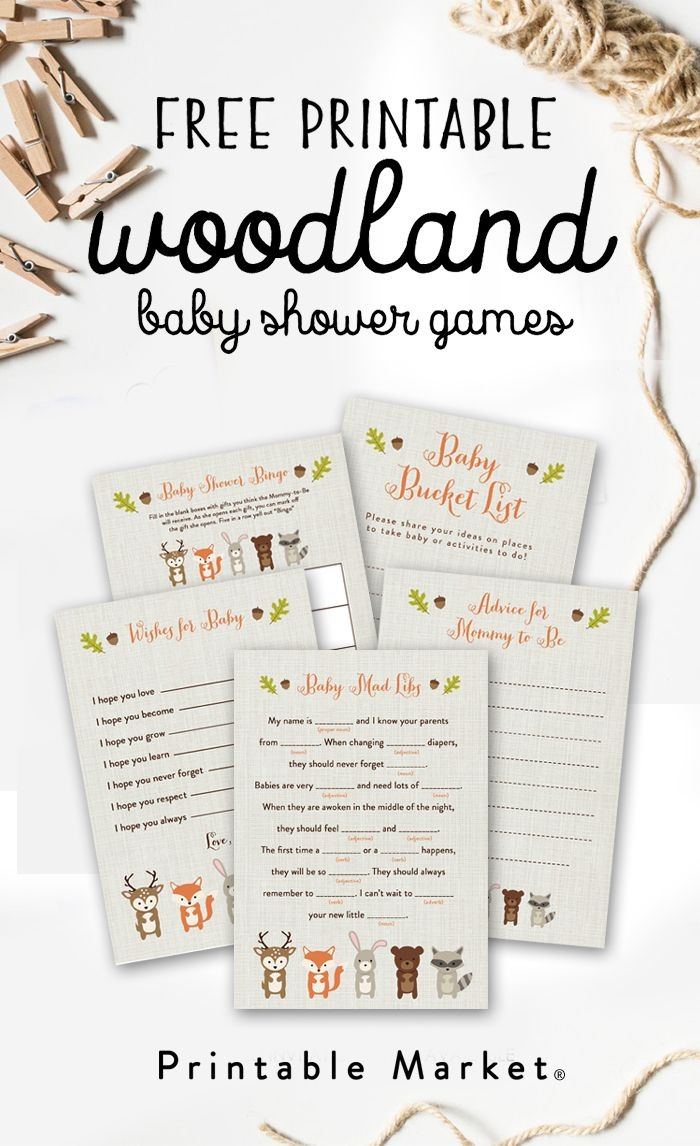 Free Woodland Fox Baby Shower Games Printable Package Instant - Free Baby Shower Printables