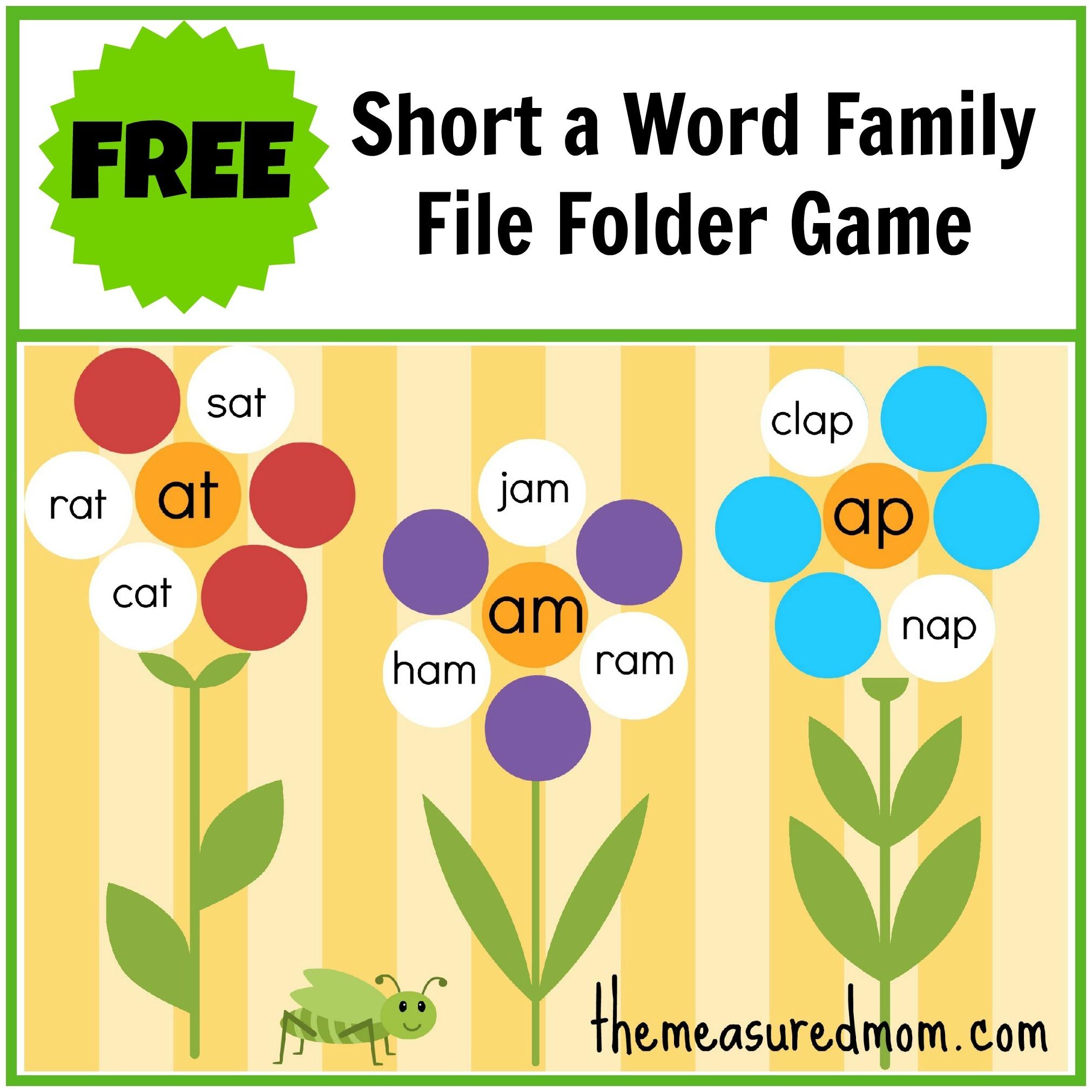 Free Word Family File Folder Game: Short A - The Measured Mom - Free Printable File Folder Games