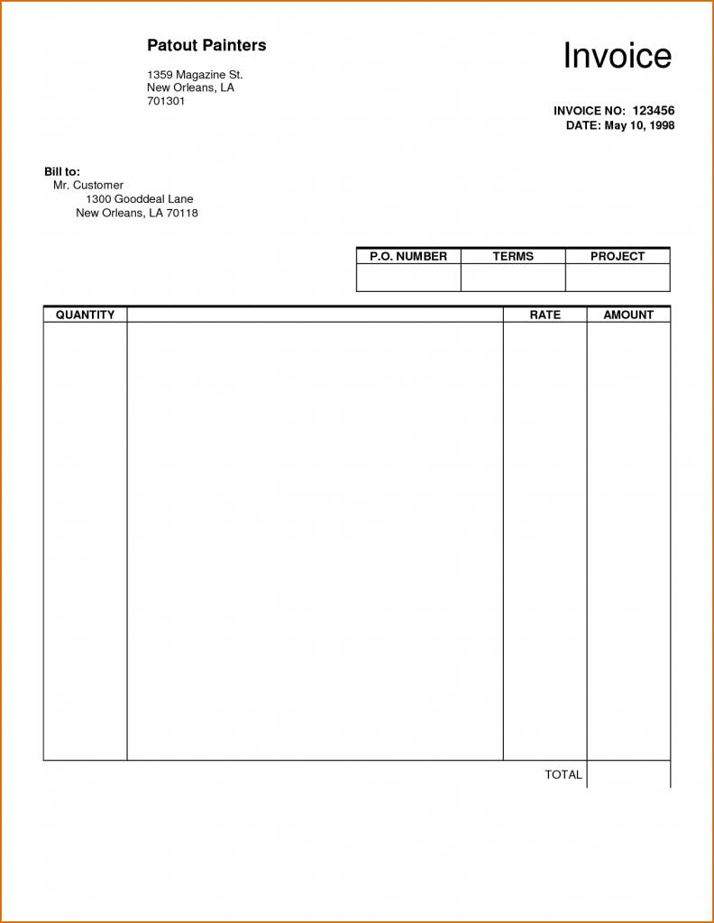 Free Word Printable Invoice Template Uk Blank Sheet Templates Sample - Free Printable Invoice Templates