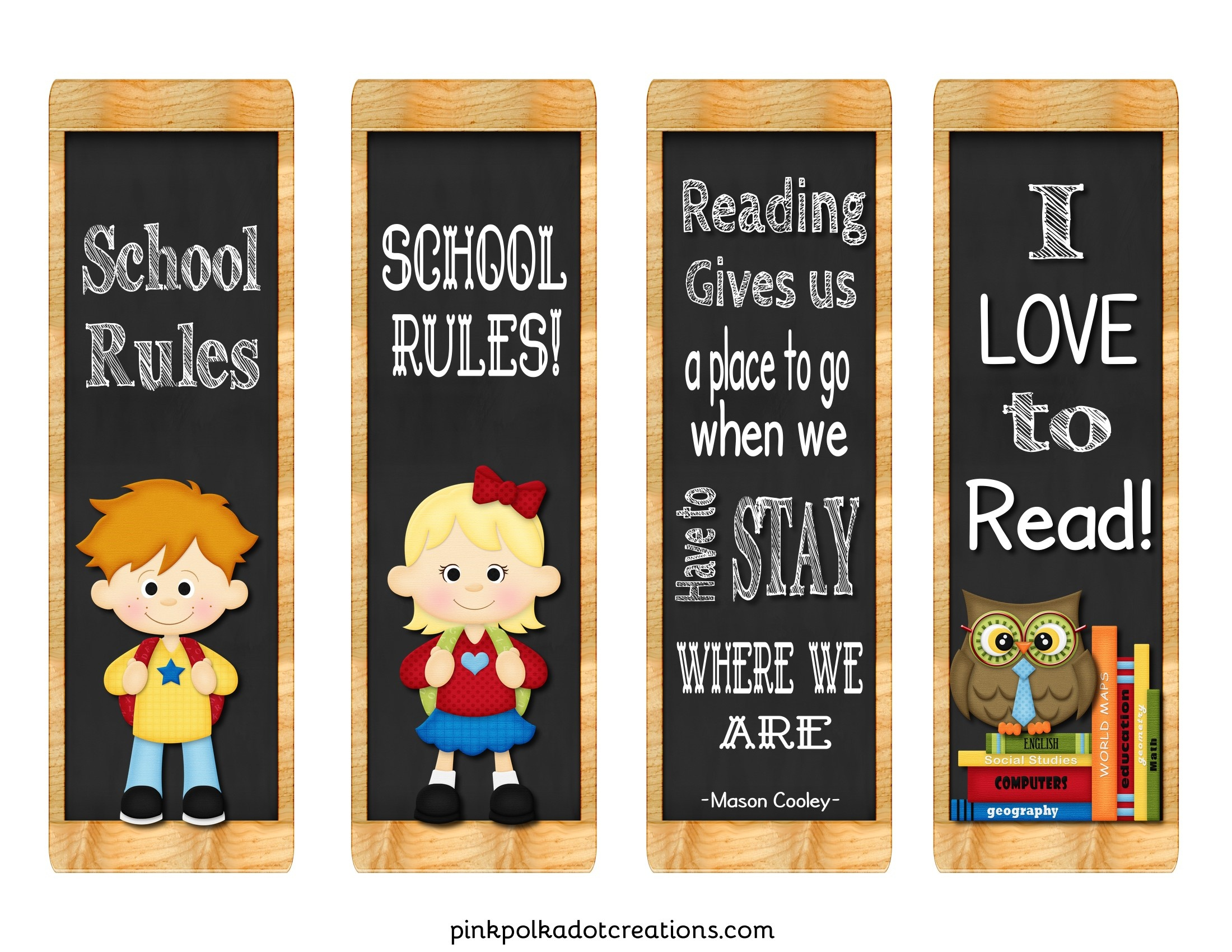Freebie! Back To School Book Marks - Pink Polka Dot Creations - Free Printable Back To School Bookmarks