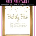 Freebie Friday   Bubbly Bar Sign | Pretty Printables Ink   Free Printable Bachelorette Signs