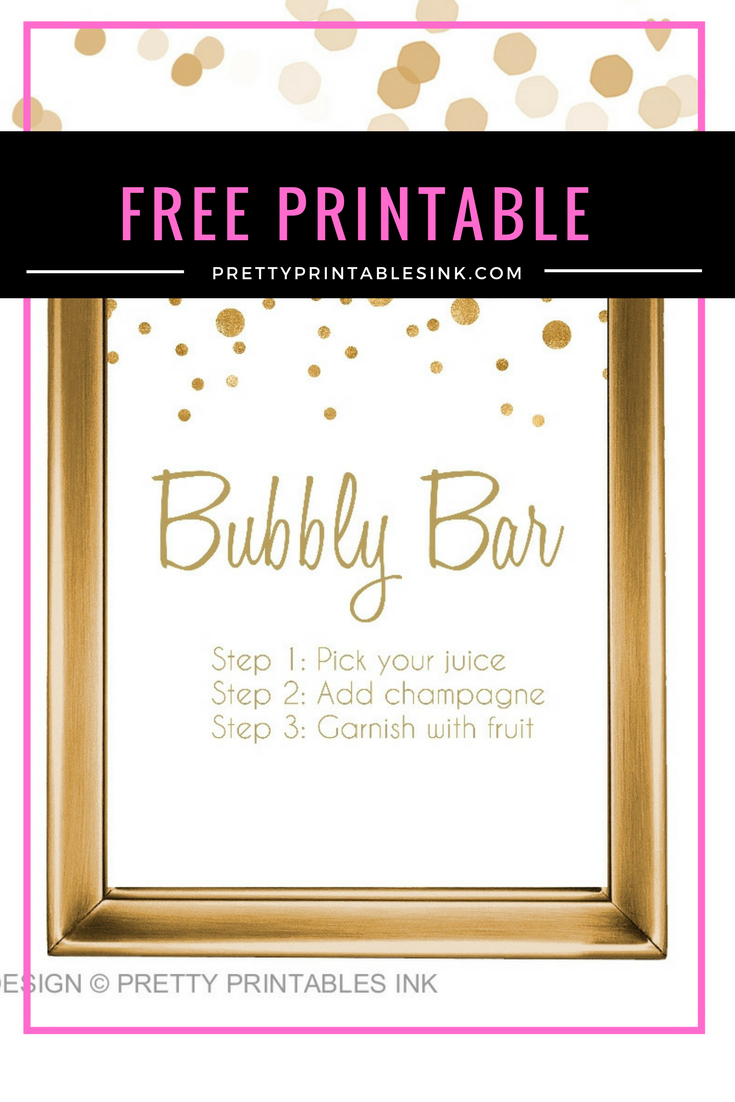 Freebie Friday - Bubbly Bar Sign | Pretty Printables Ink - Free Printable Bachelorette Signs