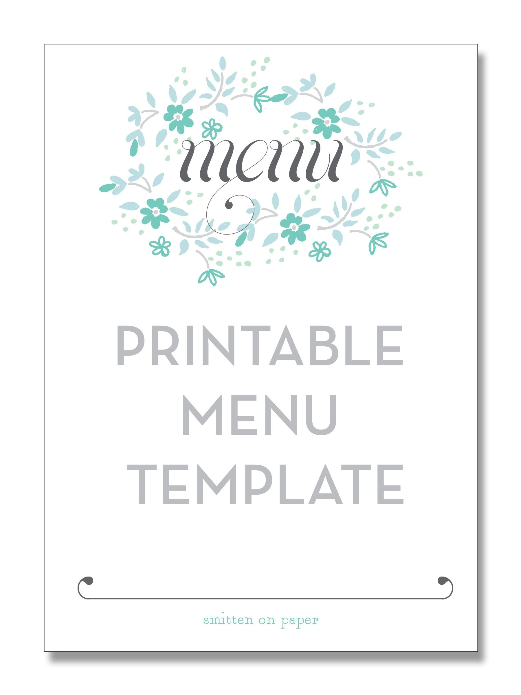 Freebie Friday: Printable Menu | Party Time! | Printable Menu, Menu - Free Printable Drink Menu Template
