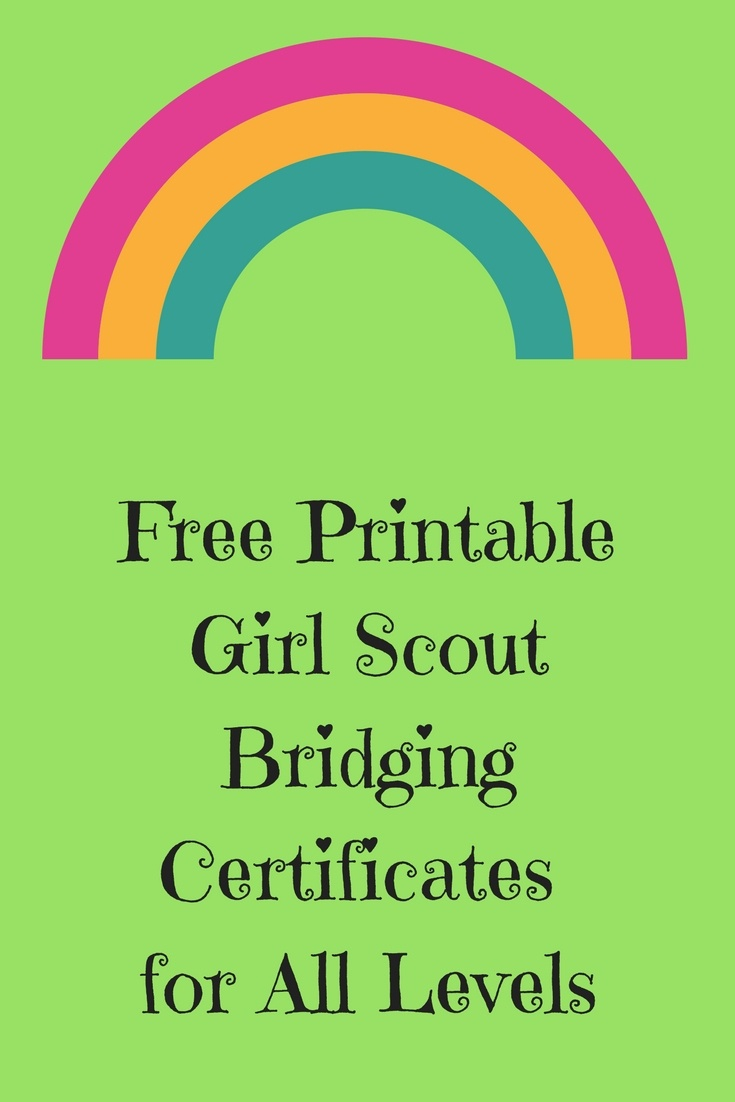 Friday Freebie-Free Printable Girl Scout Bridging Certificates - Free Bridging Certificate Printable