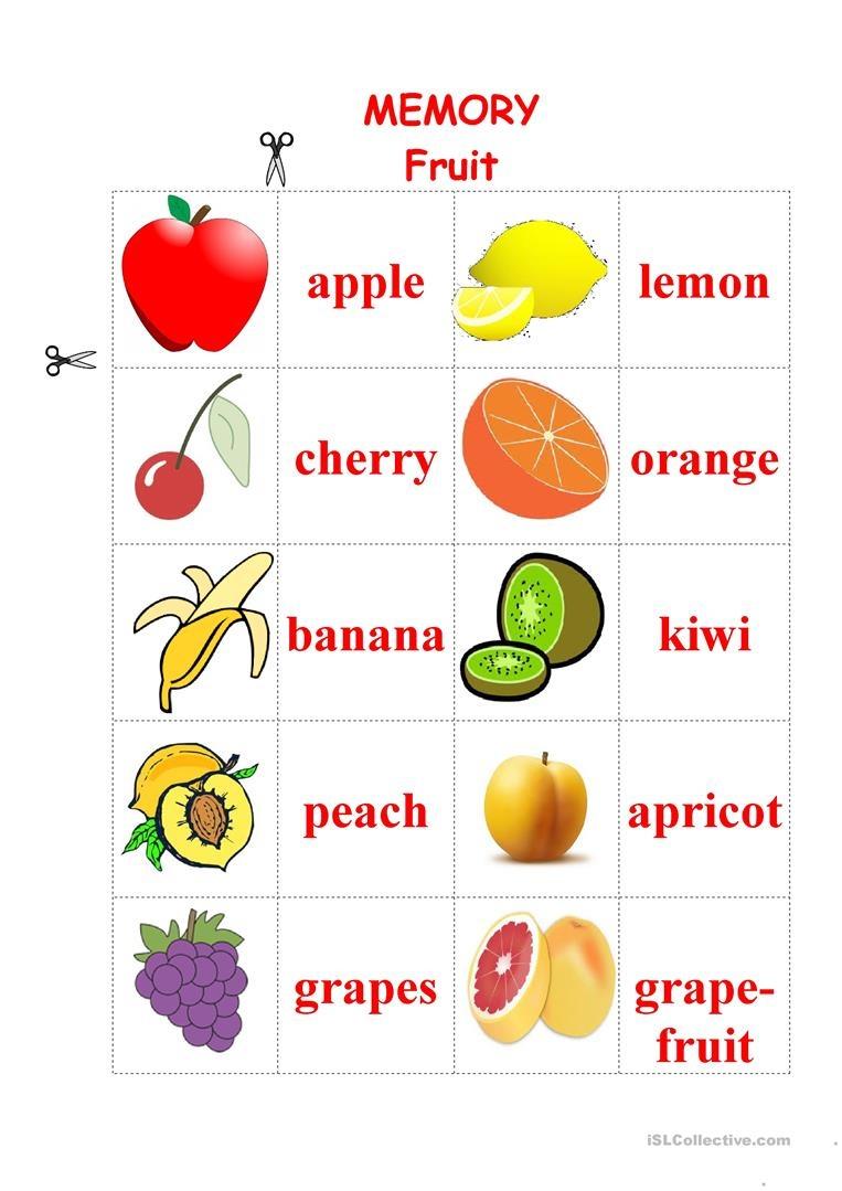Fruit Memory Game Worksheet - Free Esl Printable Worksheets Made - Free Printable Memory Exercises