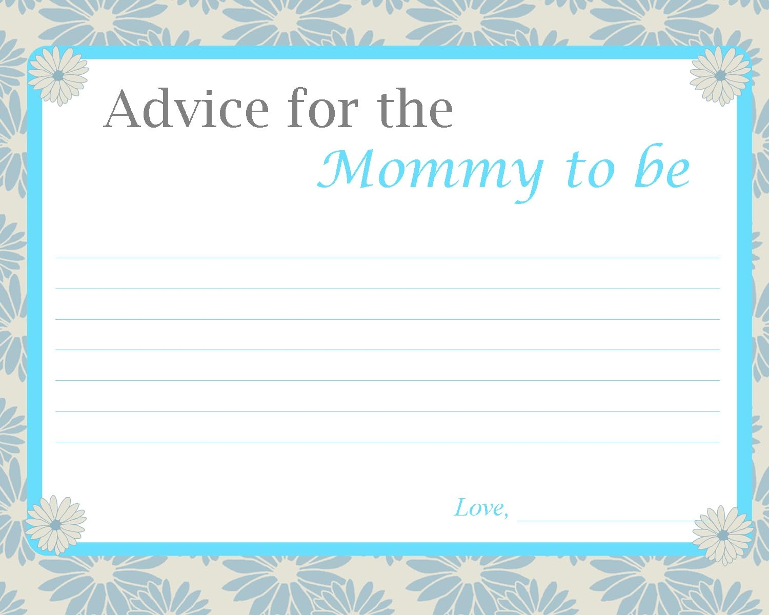 Fun Baby Shower Activities - Mommy Advice Cards Free Printable
