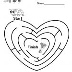 Fun Valentine's Day Maze Worksheet   Free Kindergarten Holiday   Free Printable Valentine Worksheets For Preschoolers