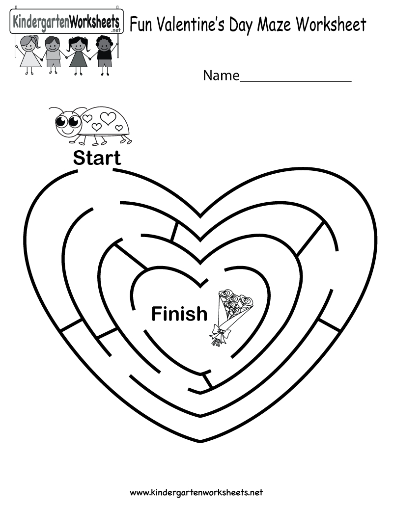 Fun Valentine's Day Maze Worksheet - Free Kindergarten Holiday - Free Printable Valentine Worksheets For Preschoolers