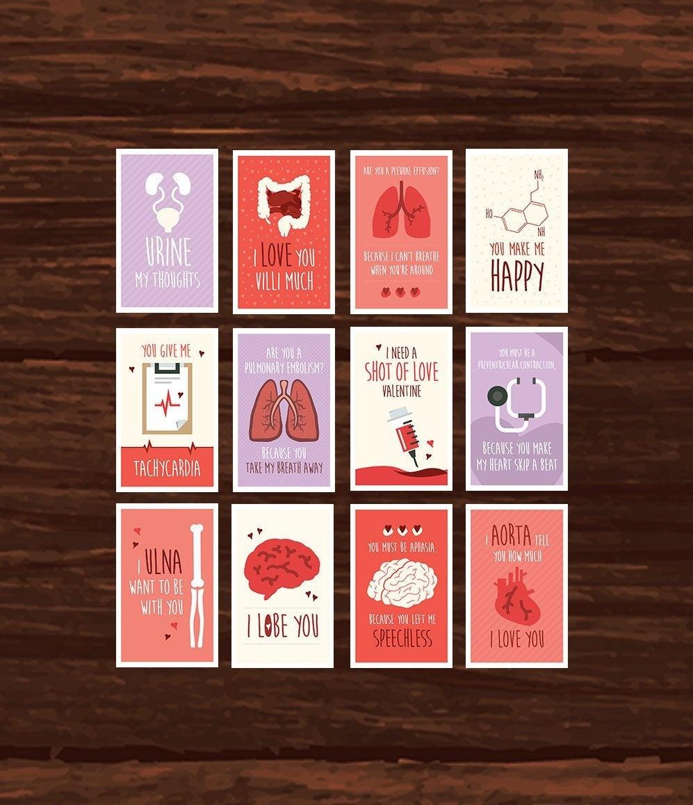 Funny Nurse Valentine's Day Card Full Set Download 12 | Etsy - Nurses Week 2016 Cards Free Printable