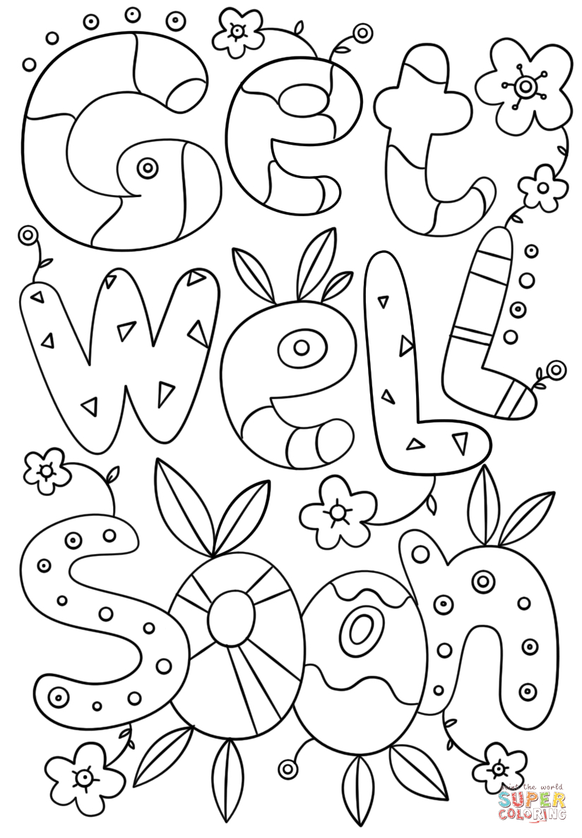 Get Well Soon Doodle Coloring Page | Free Printable Coloring Pages - Free Printable Get Well Card For Child To Color