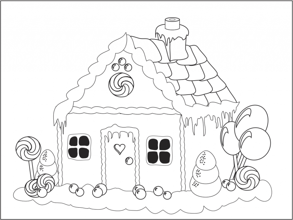 Gingerbread House Coloring Pages Printable - Coloring Home - Free Gingerbread House Printables