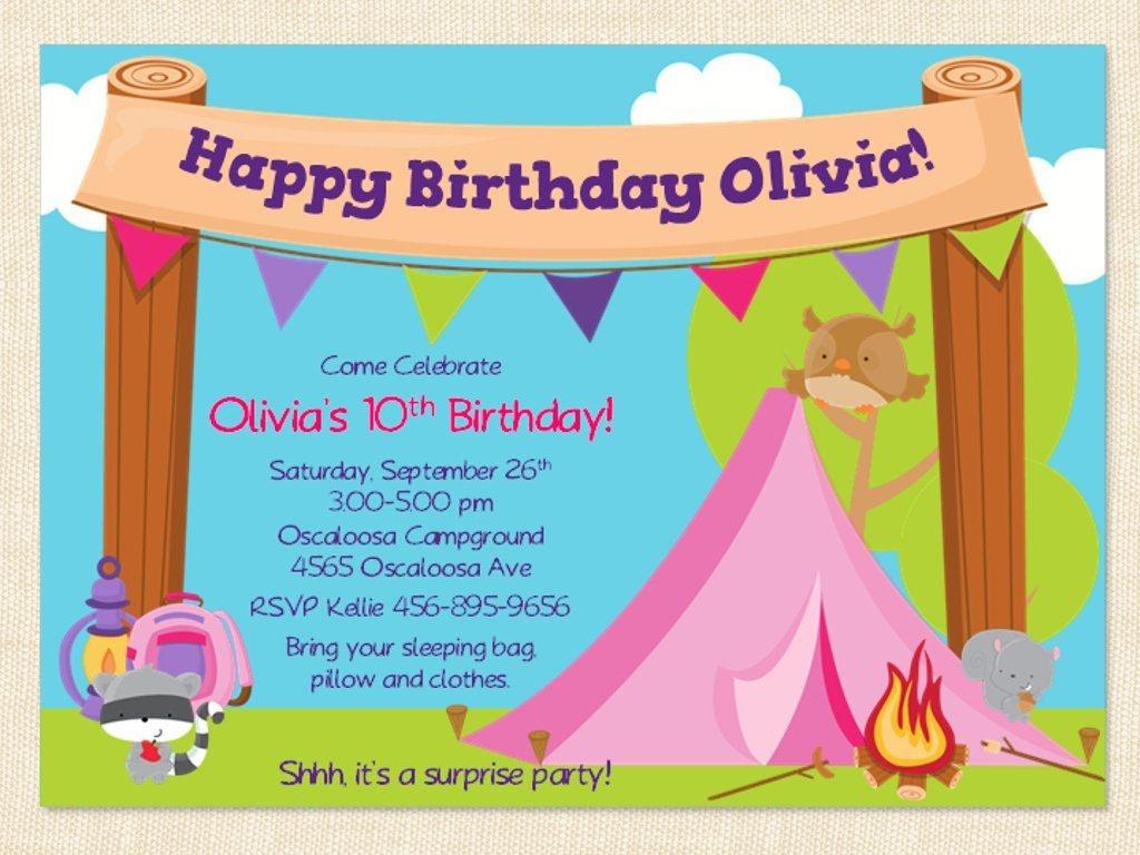 Girl Camping Birthday Invitation Party Printablebusychickadees - Free Printable Camping Themed Birthday Invitations