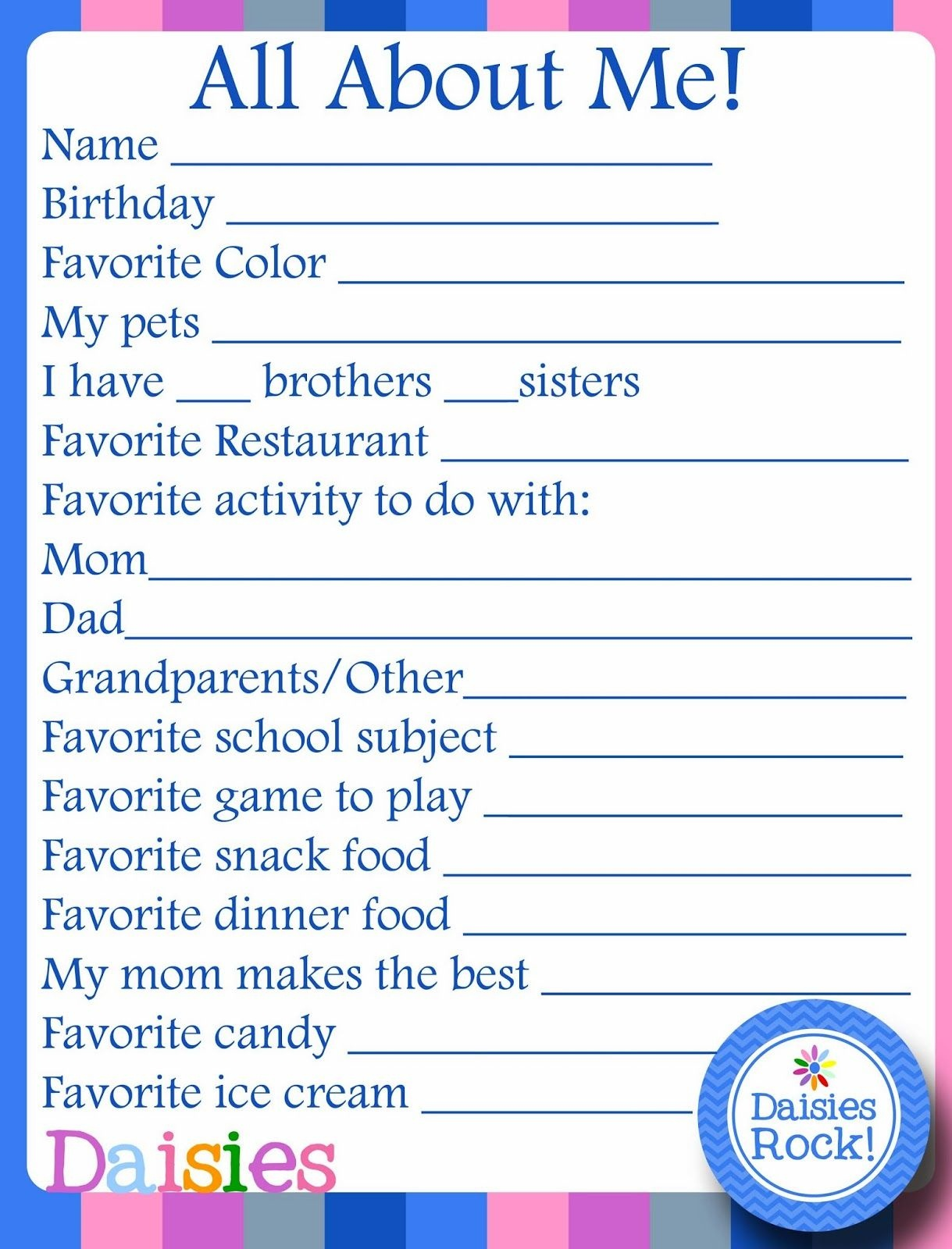 Girl Scouts: About Me Free Printable For Daisies | Girl Scouts - Free Daisy Girl Scout Printables