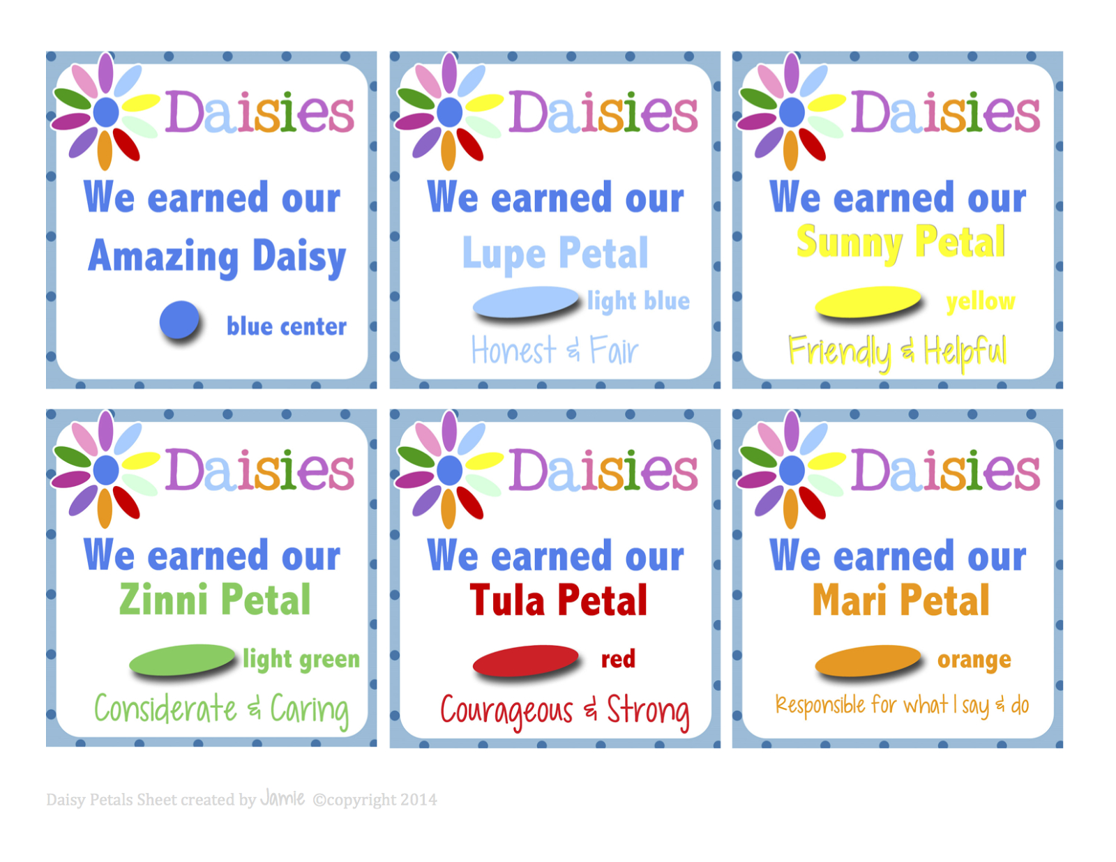 Girl Scouts: Daisy Petal Cards Free Printable | Girl Scouts | Girl - Free Daisy Girl Scout Printables