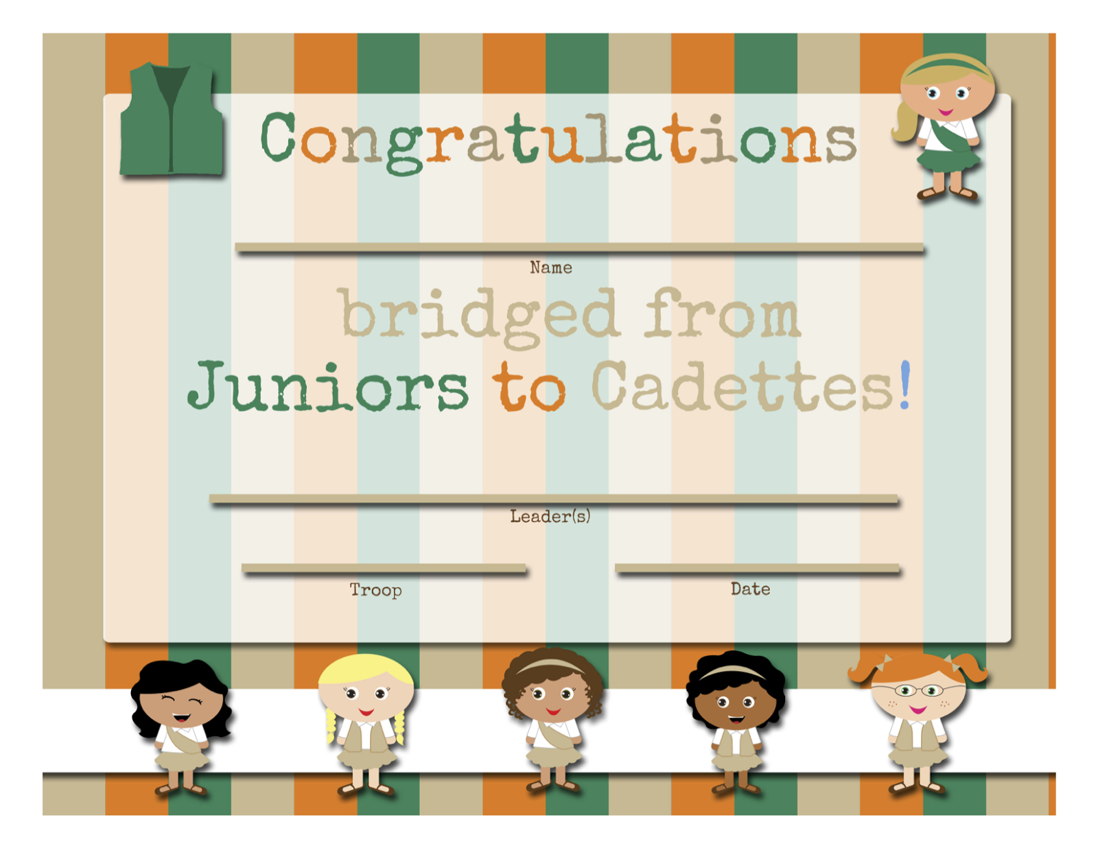 Girl Scouts: Free Printable Bridging Certificates - Juniors To - Free Bridging Certificate Printable