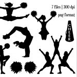 Girls Cheerleading Silhouette Clipart #1 | Silhouette | Cheer   Free Printable Cheerleading Clipart