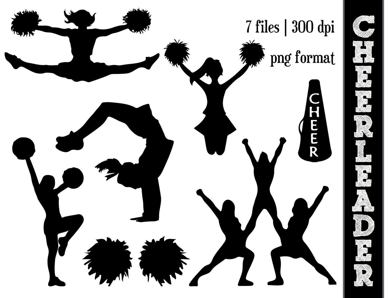 Girls Cheerleading Silhouette Clipart #1 | Silhouette | Cheer - Free Printable Cheerleading Clipart