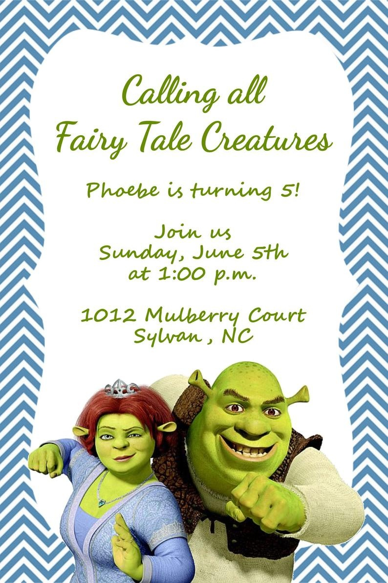 Girls Or Boys Shrek Printable Birthday Party Invitation | Etsy - Free Printable Shrek Invitations