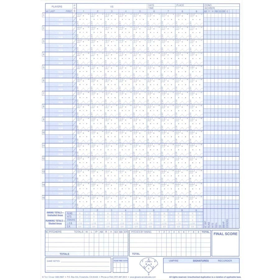 Glover's Baseball/softball Short Form Scorebook | Sports Advantage - Softball Scorebook Printable Free