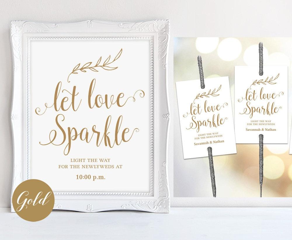 Gold Sparkler Send Off Sign & Tags Set Printable Wedding | Etsy - Free Printable Wedding Sparkler Sign