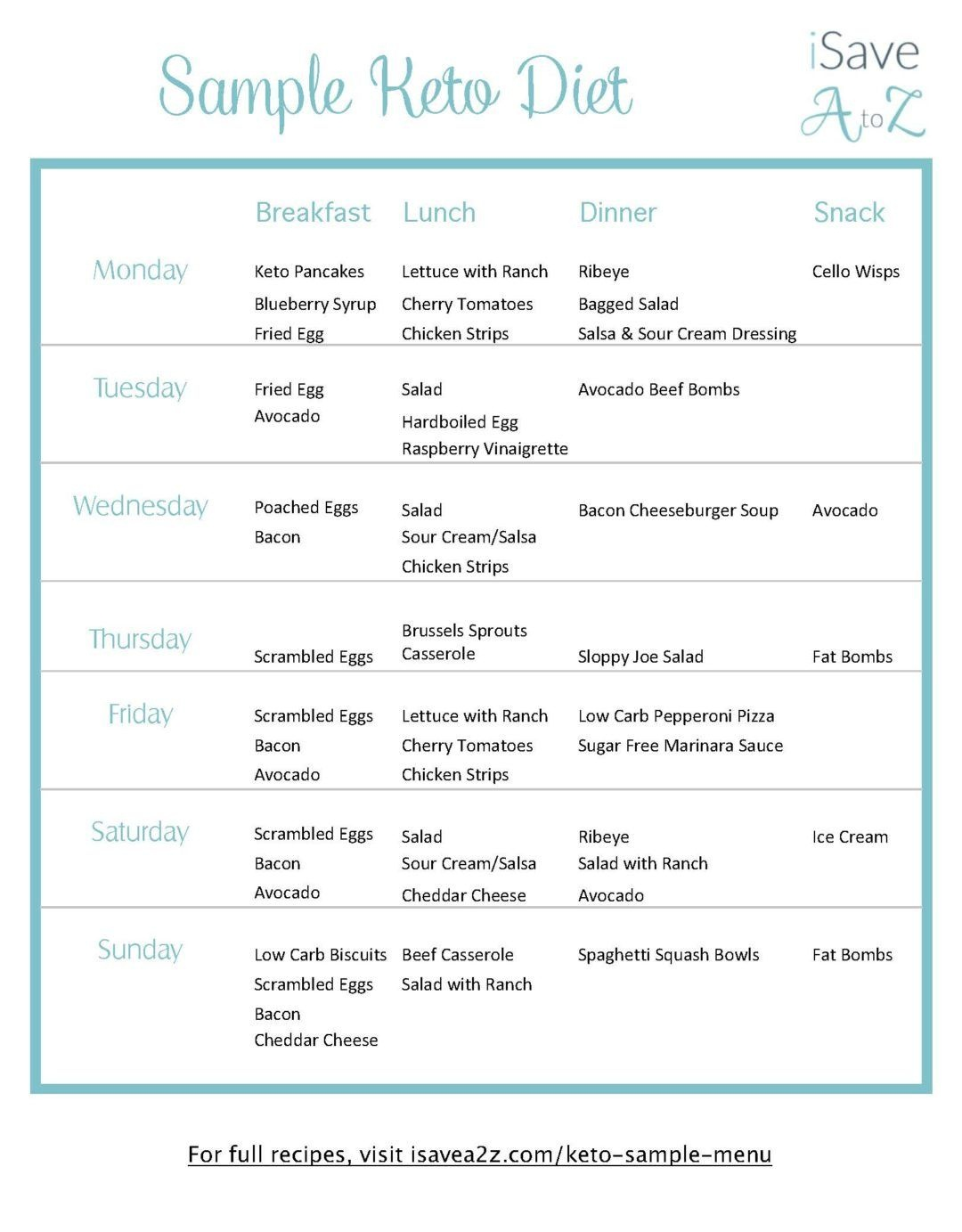 Grab This Printable 7 Day Keto Sample Menu Plan | Keto | Ketogenic - Free Printable Low Carb Diet Plans