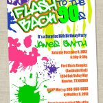 Graffiti Birthday Invitations   Neon Party Invitation   Retro 80S   Free Printable 80S Birthday Party Invitations