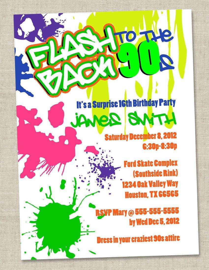 Graffiti Birthday Invitations - Neon Party Invitation - Retro 80S - Free Printable 80S Birthday Party Invitations