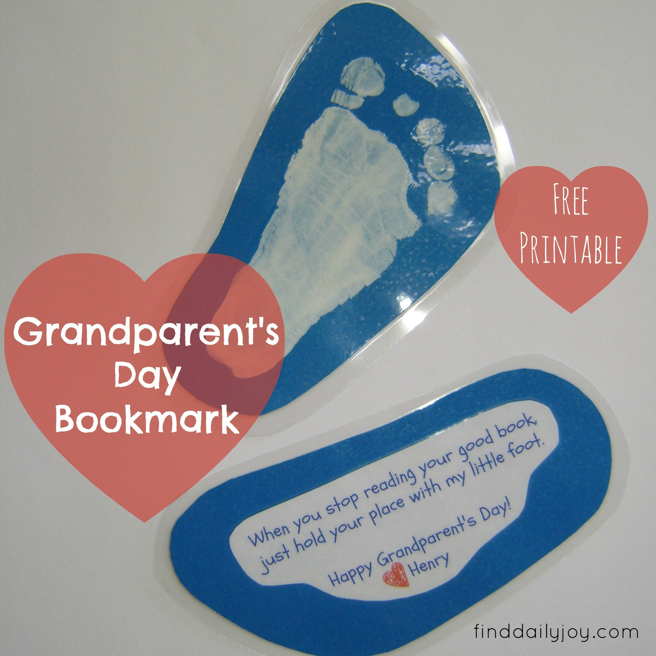 Grandparent's Day Bookmark {Free Printable} | Find Daily Joy - Free Printable Baby Bookmarks