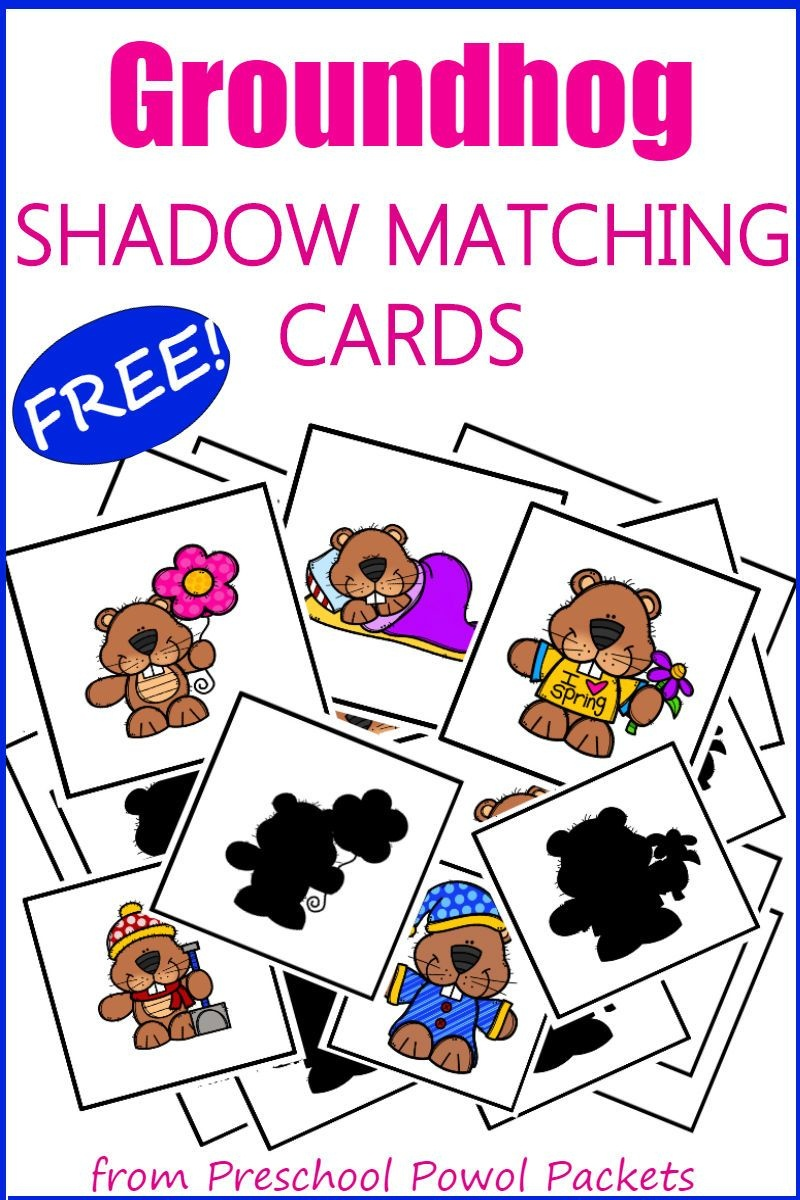 Groundhog Day Activities For Prek With Free Shadow Matching Cards - Free Groundhog Printables Preschool
