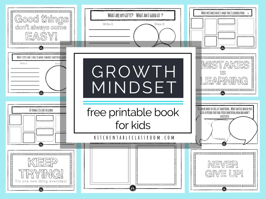 Growth Mindset For Kids Printable Book- Growth Mindset Activities - Free Printable Activities For 6 Year Olds