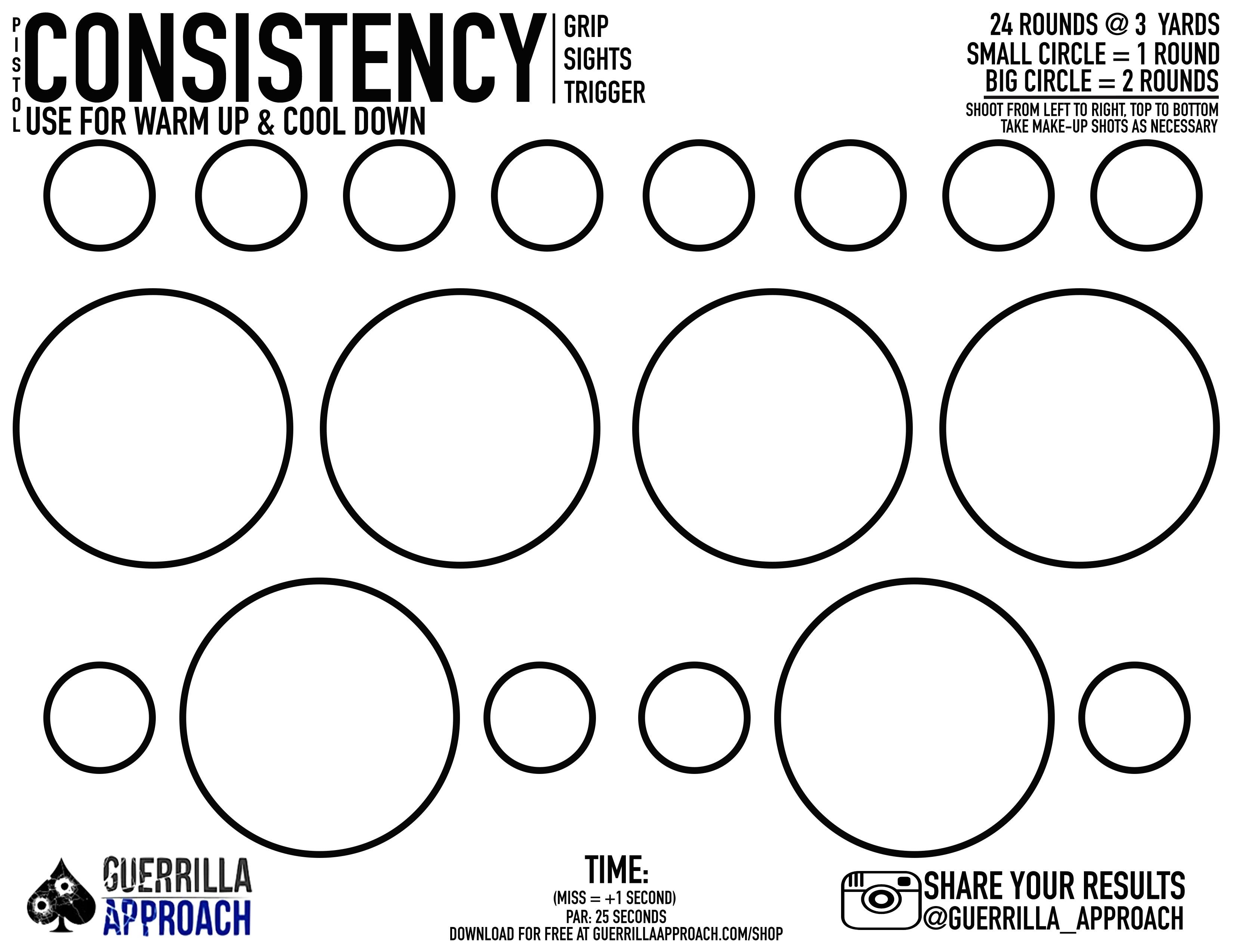 Guerrilla Approach Llc | Consistency Target (Free) - Free Printable Pistol Targets
