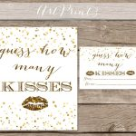 Guess How Many Kisses Bridal Shower Printable Gold Bridal   Etsy   How Many Kisses Game Free Printable