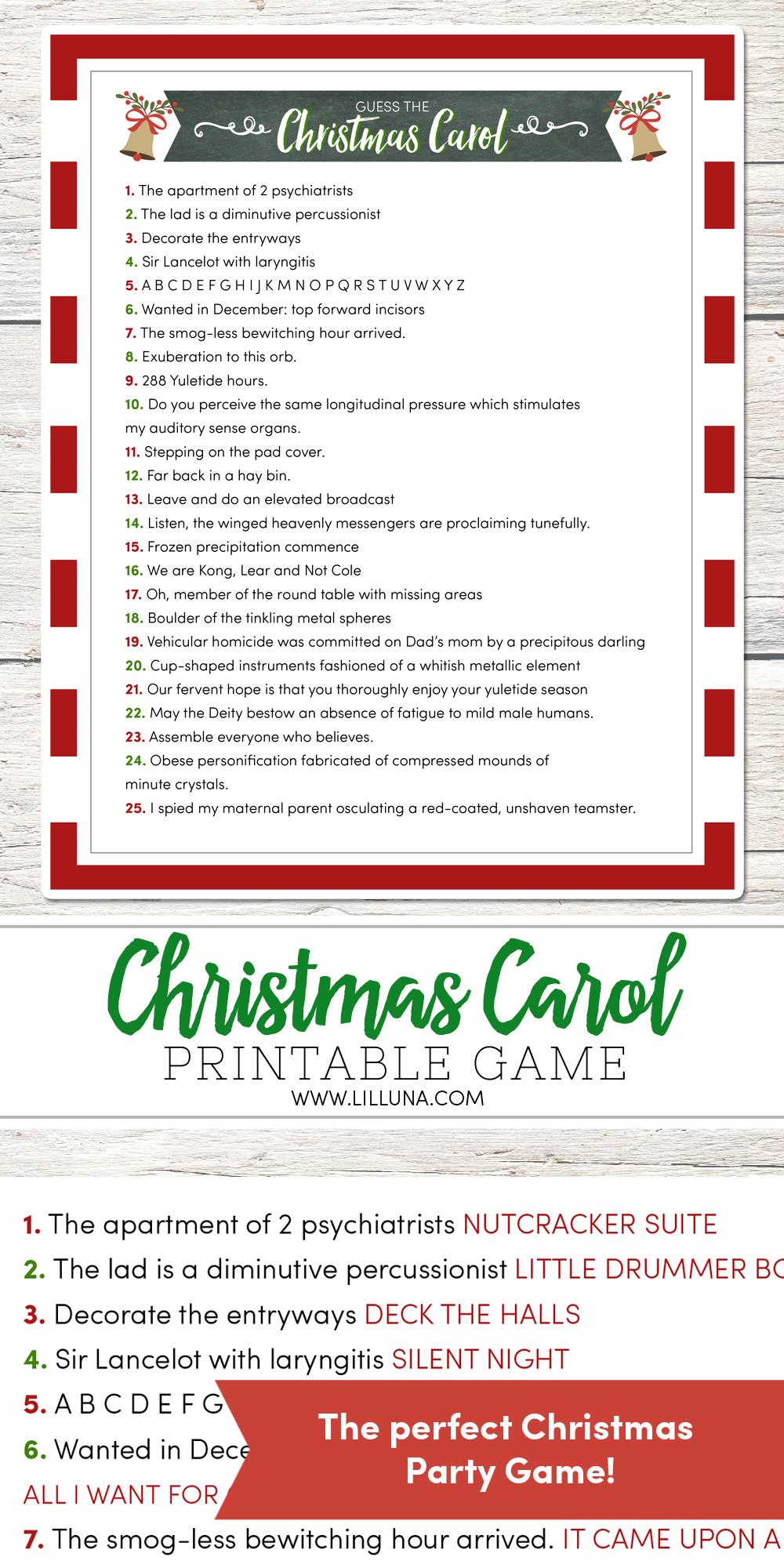 Guess The Christmas Carol Game | Lil' Luna | Christmas Party Games - Christmas Song Lyrics Game Free Printable