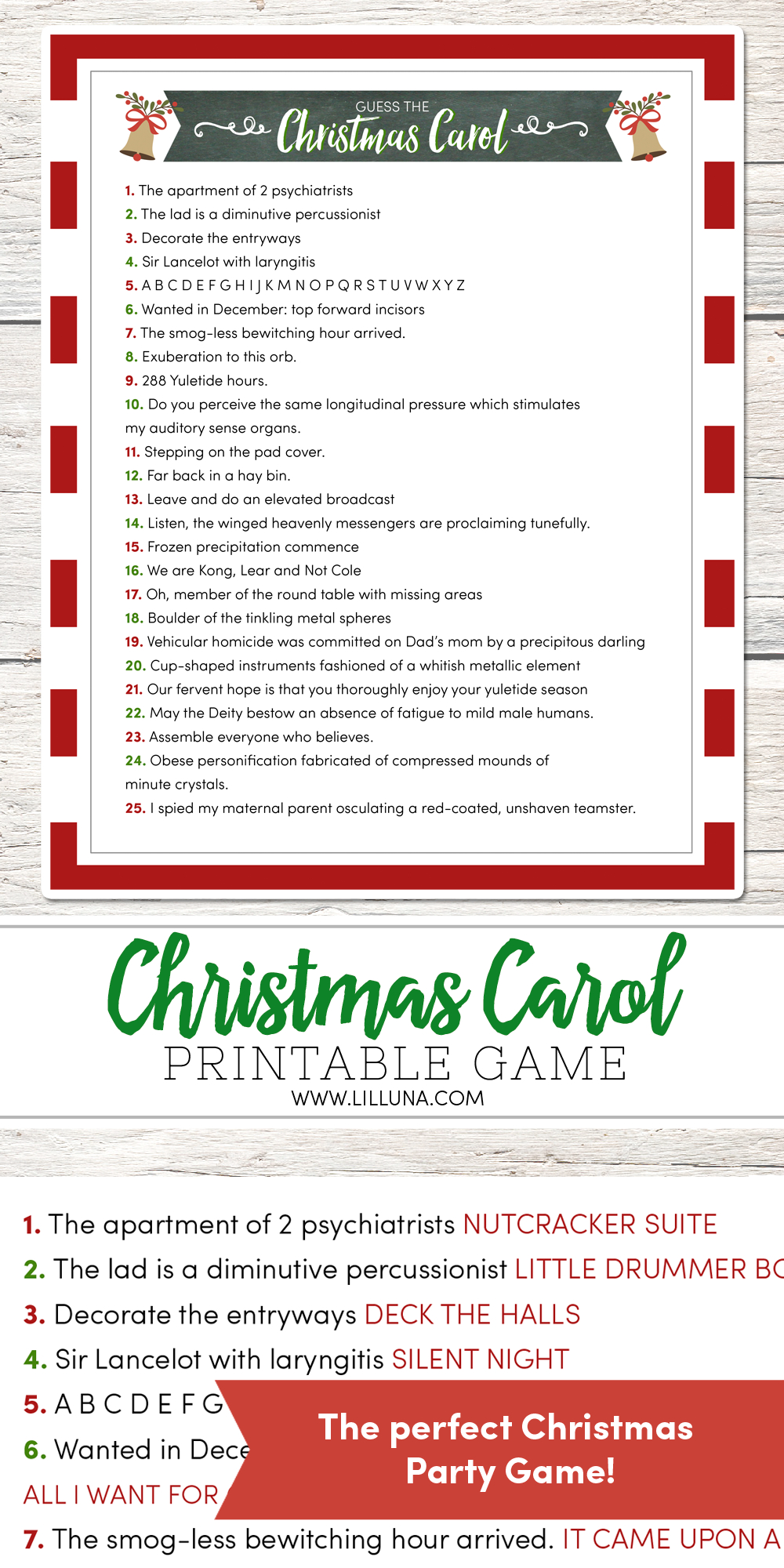 Guess The Christmas Carol Game - Lil' Luna - Free Printable Christmas Song Quiz