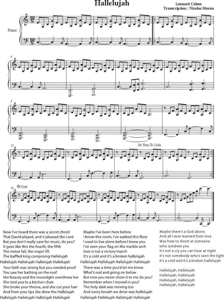 Hallelujah Easy Piano Sheet Music Free Printable