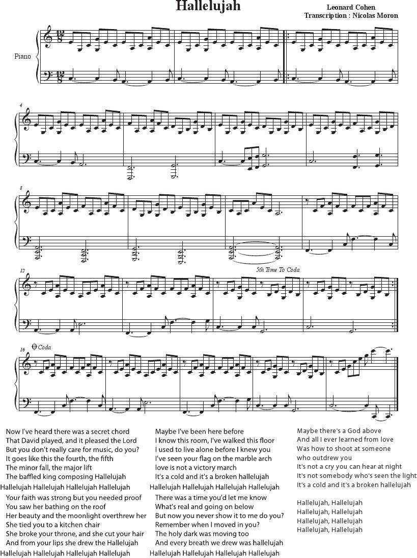 Hallelujah - Cohen - Rufus Wainwright - Shrek Best - Sheet Music - Hallelujah Easy Piano Sheet Music Free Printable