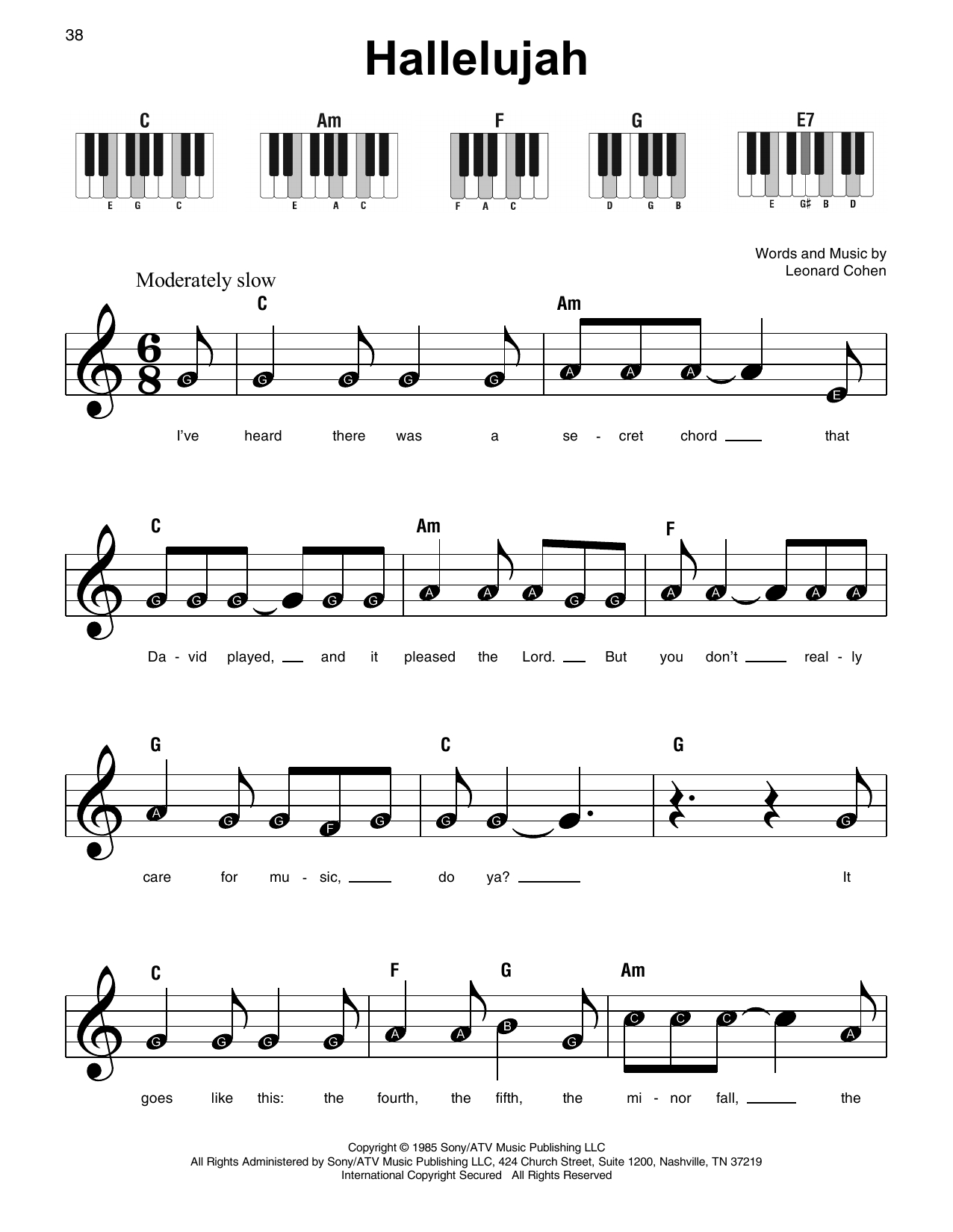 Hallelujah Sheet Music | Leonard Cohen | Super Easy Piano - Hallelujah Easy Piano Sheet Music Free Printable