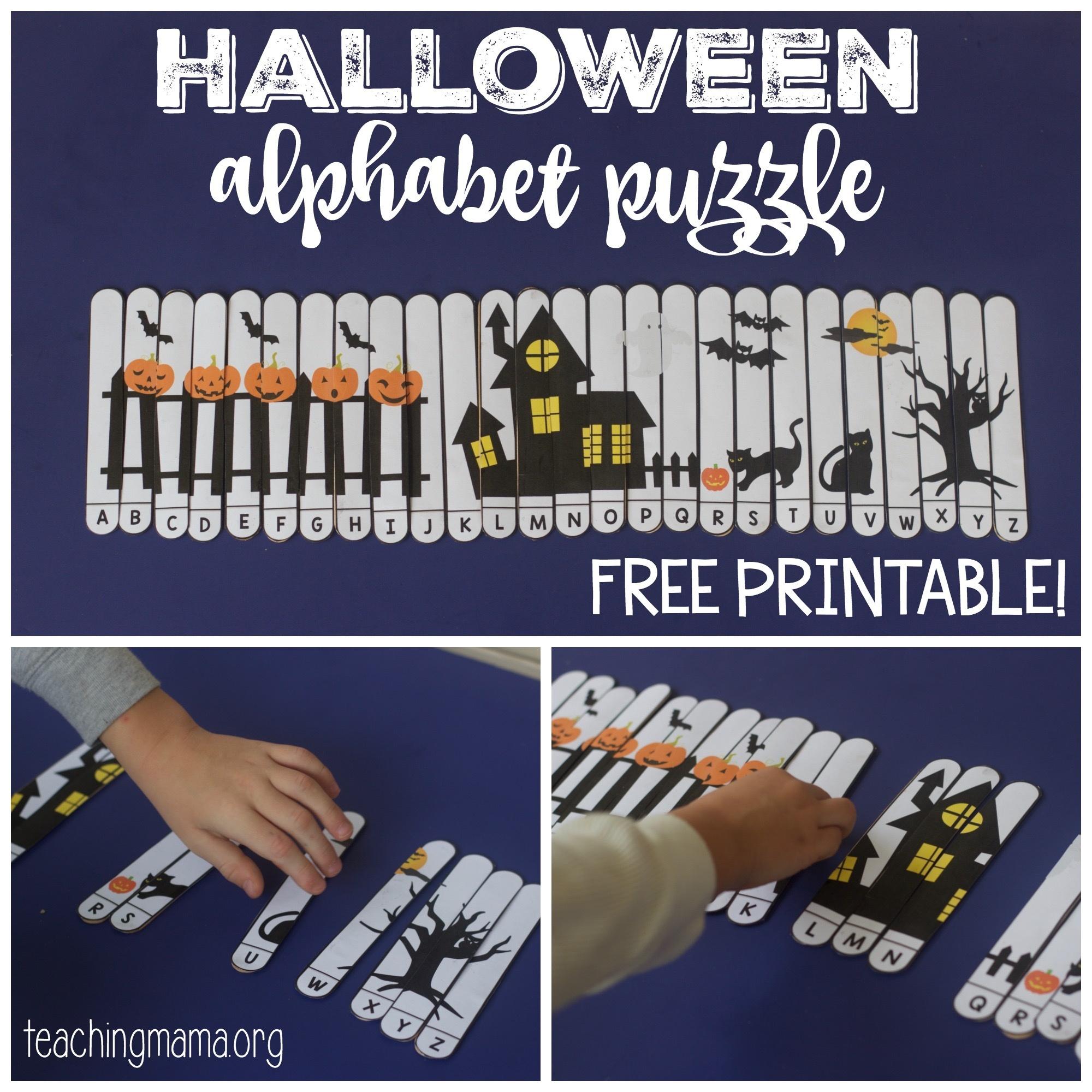 Halloween Alphabet Puzzle - Free Printable Alphabet Puzzles