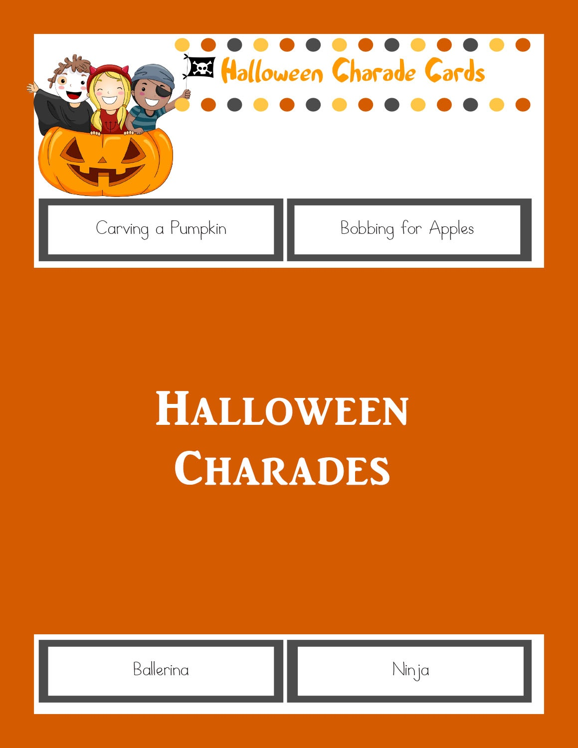 Halloween Charades: Printable Halloween Game - The Joys Of Boys - Free Printable Halloween Party Games