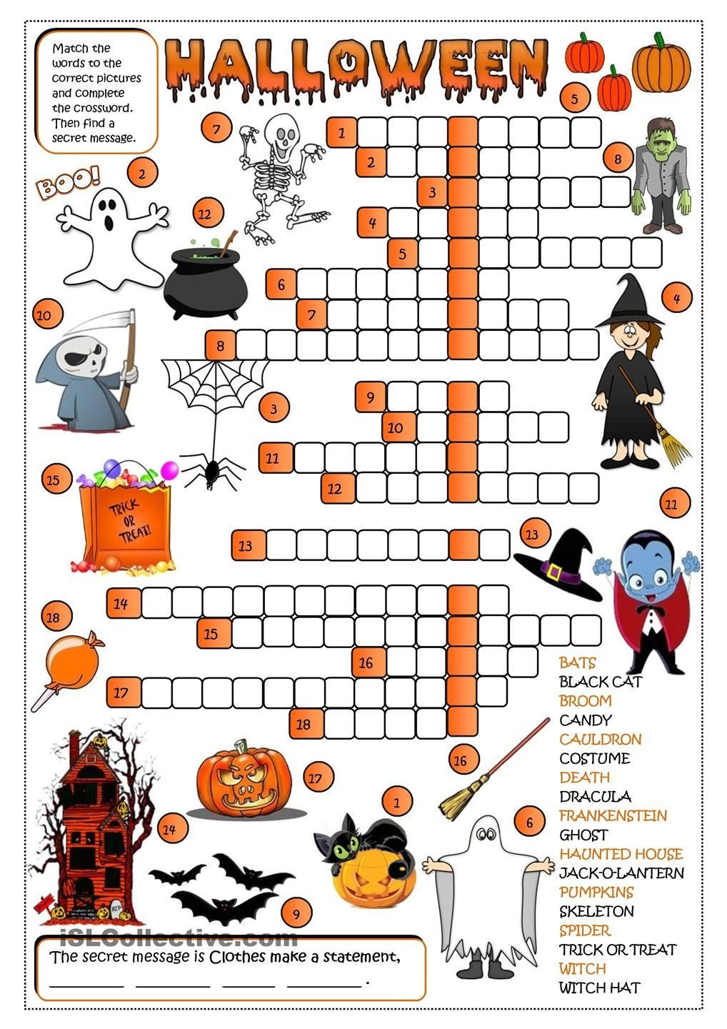 Halloween - Crossword … | Halloween Activities | Hallo… - Free Printable French Halloween Worksheets