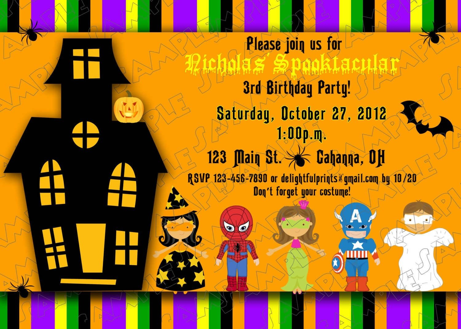 Halloween Kids Birthday Party Invitations | Printable Halloween - Free Printable Halloween Birthday Party Invitations