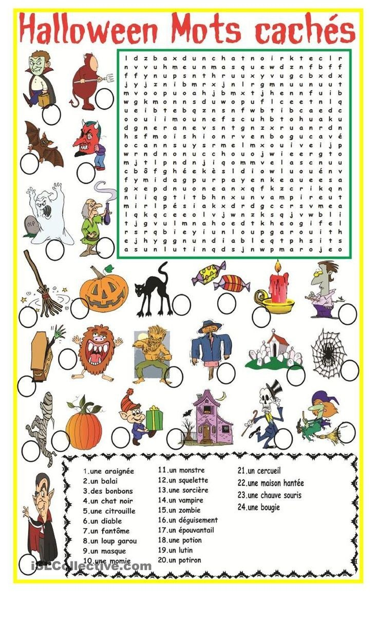 Halloween Mots Cachés | Fle | Halloween Worksheets, French - Free Printable French Halloween Worksheets