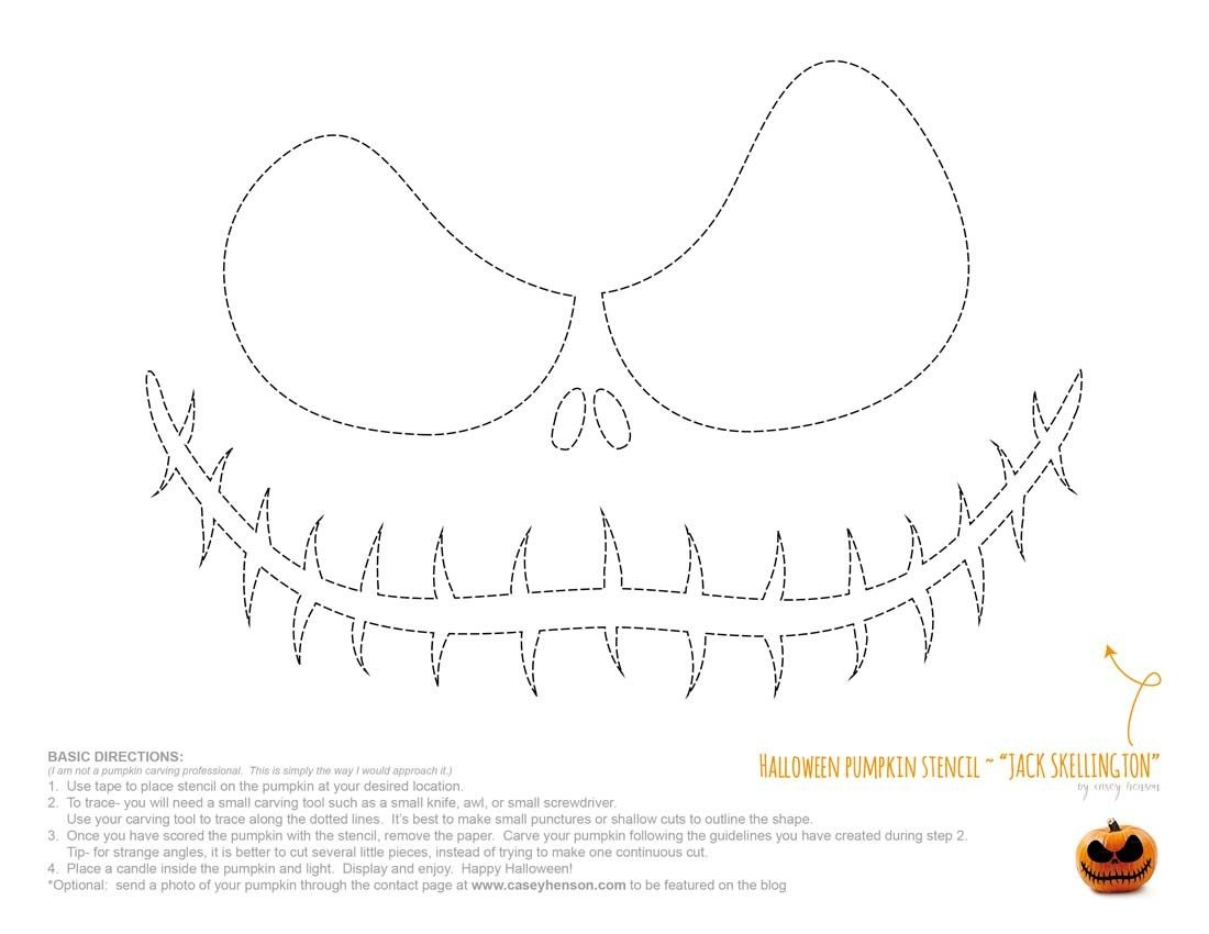 Halloween Pumpkin Carving Stencils: The Nightmare Before Christmas - Jack Skellington And Sally Pumpkin Stencils Free Printable